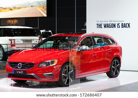 DETROIT - JANUARY 16 : The Volvo V60 Wagon on display at the North American International Auto Show media preview  January 16, 2014 in Detroit, Michigan. - stock photo