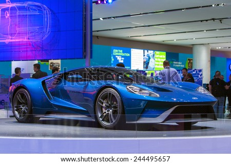 DETROIT - JANUARY 12: The world premiere of the Ford GT sports car on January 12th, 2015 at the 2015 North American International Auto Show in Detroit, Michigan. - stock photo