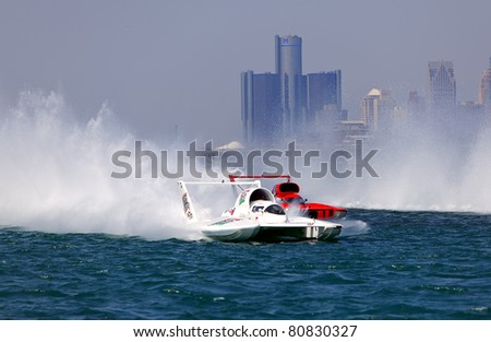 DETROIT - JULY 10th : Hydroplanes battle for position at the APBA Gold Cup Race Finals on July 10th, 2011 in Detroit, Michigan. - stock photo