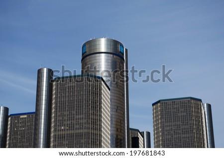 Detroit May 6, 2014: General Motors Building, GM Headquarters, Renaissance Center, May 6, 2014, Downtown Detroit. - stock photo