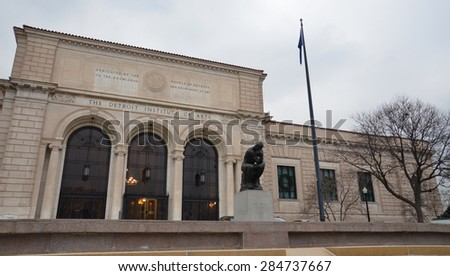 DETROIT, MI - DECEMBER 20:  The Detroit Institute of Arts, shown on December 20, 2014, is hosting an exhibit on Diego Rivera and Frida Kahlo.  - stock photo