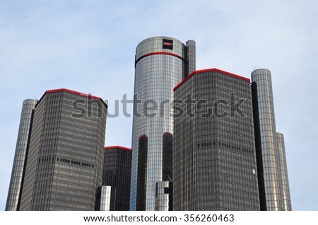 DETROIT, MI - DECEMBER 24: The Renaissance Center in Detroit, MI, now called the GMRENCEN is shown here December 24, 2015. It houses the world headquarters of General Motors - stock photo
