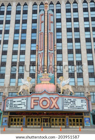 DETROIT, MI - JULY 6: The Fox Theater in Detroit, MI, shown here on July 6, 2014, was designated a historic landmark in 1989. - stock photo