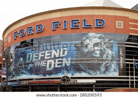 DETROIT, MI-MAY 2015:  Exterior of Ford Field, the home of the Detroit Lions.  The Lions are owned by members of the founding Ford Motor Company family.   - stock photo