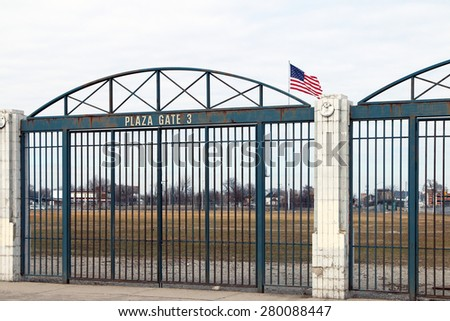 DETROIT, MI-MAY 2015: Historical entrance gate to what used to be Tiger Stadium in Detroit with the American flag in the background on the former field.   - stock photo