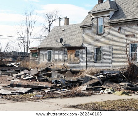 DETROIT, MI-MAY, 2015:  Rubble is all that remains of this home that was recently demolished near downtown Detroit.    - stock photo