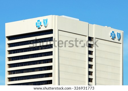DETROIT, MI-OCTOBER, 2015:  Headquarters for Blue Cross Blue Shield of Michigan in downtown Detroit. Blue Cross Blue Shield is one the largest health insurers in the USA. - stock photo