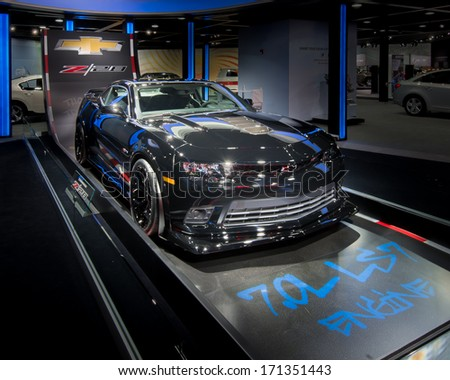 DETROIT, MI/USA - JANUARY 14: A 2014 Chevrolet (Chevy) Camaro Z28 car at the North American International Auto Show (NAIAS) on January 14, 2014, in Detroit, Michigan. - stock photo