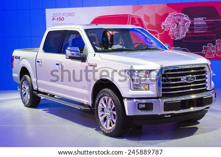 DETROIT, MI, USA - JANUARY 12, 2015: Ford F150 on display during the 2015 Detroit International Auto Show at the COBO Center in downtown Detroit. - stock photo
