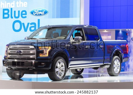 DETROIT, MI, USA - JANUARY 13, 2015: Ford F150 pickup on display during the 2015 Detroit International Auto Show at the COBO Center in downtown Detroit. - stock photo