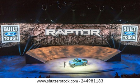 DETROIT, MI/USA - JANUARY 12, 2015: Ford F-150 SVT Raptor reveal at the North American International Auto Show (NAIAS), one of the most influential car shows in the world each year. - stock photo