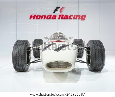 DETROIT, MI/USA - JANUARY 13, 2015: 1965 Honda RA272 #11, Formula One race car, at the North American International Auto Show (NAIAS). Driver Richie Ginther. - stock photo