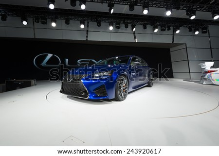 DETROIT, MI/USA - JANUARY 13, 2015: Lexus RCF GT3 car at the North American International Auto Show (NAIAS), one of the most influential car shows in the world each year. - stock photo