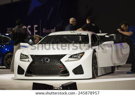 DETROIT, MI, USA - JANUARY 13, 2015: Lexus RCF race car on display during the 2015 Detroit International Auto Show at the COBO Center in downtown Detroit. - stock photo
