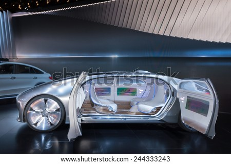 DETROIT, MI/USA - JANUARY 14, 2015: Mercedes F 015 Concept car at the North American International Auto Show (NAIAS), one of the most influential car shows in the world each year. - stock photo