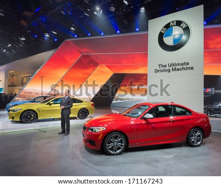 DETROIT, MI/USA - JANUARY 13: The 2014 BMW M3, M4 and M235I are announced at the North American International Auto Show (NAIAS) on January 13, 2014, in Detroit, Michigan. - stock photo