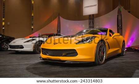 DETROIT, MI/USA - JANUARY 11, 2015: Two Lingenfelter C7 Chevrolet Corvette cars at The Gallery, an event sponsored by the North American International Auto Show (NAIAS) and the MGM Grand Detroit. - stock photo