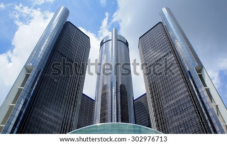 DETROIT, MICHIGAN - JULY 19, 2015: The General Motors Renaissance Center in Detroit Michigan Midday - stock photo