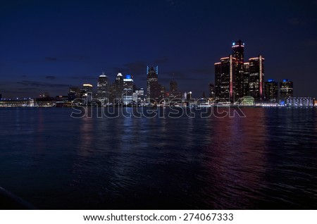 Detroit Skyline at Night 2015  - stock photo