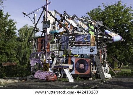 DETROIT, USA - June 21, 2016: The Heidelberg Project in Detroit, Michigan, USA. The Heidelberg Project is an outdoor art project in Detroit, Michigan which found in 1986.  - stock photo