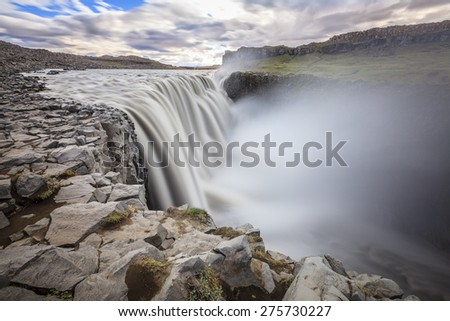 Dettfoss - waterfall on Jokulsa a Fjollum river in Iceland - stock photo