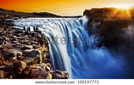 Dettifoss waterfall at sunset, Europe's most powerful waterfall, Iceland - stock photo