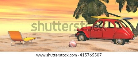 Deuch french car holidays at the beach - 3D render - stock photo