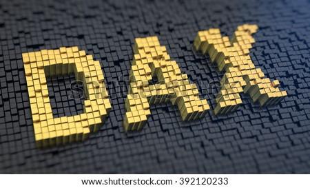 Deutscher Aktienindex (German stock index). Acronym DAX of the yellow square pixels on a black matrix background. 3D illustration jpeg - stock photo