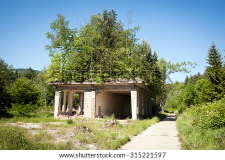 Devastated building in Owl Mountains, Poland - stock photo