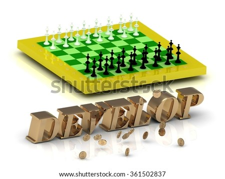 DEVELOP- bright gold letters money and yellow chess on white background - stock photo