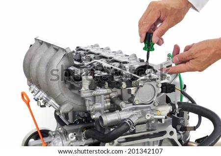 Development of automobile engine  - stock photo
