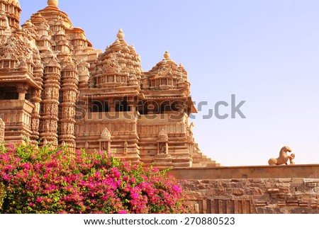 Devi Jagdambi Temple, Western Temples in Khajuraho, Madya Pradesh, India. Unesco World Heritage Site - stock photo