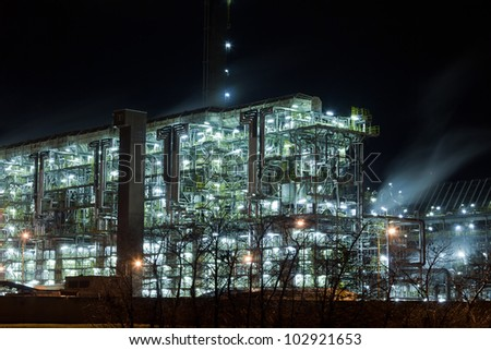 Device for chemical production at night - stock photo