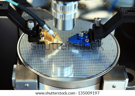 Device for control of manufacture of microcircuits on a wafer of silicon - stock photo