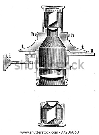 device for the polarization of light in the microscope - an illustration of the encyclopedia publishers Education, St. Petersburg, Russian Empire, 1896 - stock photo
