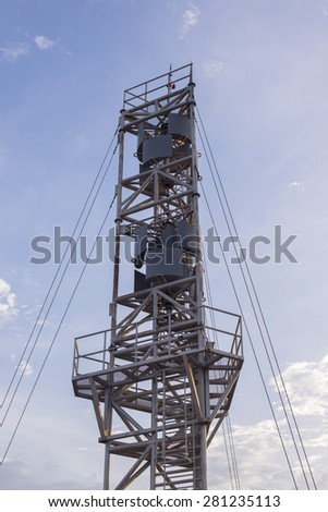 Devices meteorological station on the blue background of the sky - stock photo