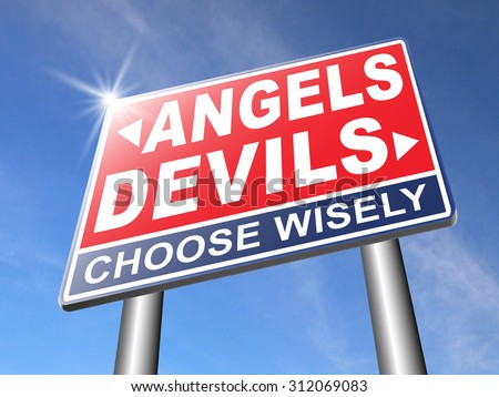 devil and angel good or evil bad heaven and hell road sign with text arrow - stock photo