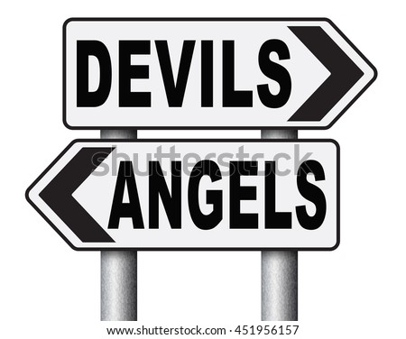 devil and angel good or evil bad heaven and hell road sign with text arrow 3D illustration, isolated, on white  - stock photo