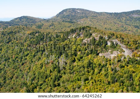 Devil's Courthouse overlook view in fall - stock photo