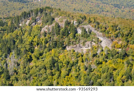 Devil's Courthouse overlook view of a rocky hill - stock photo