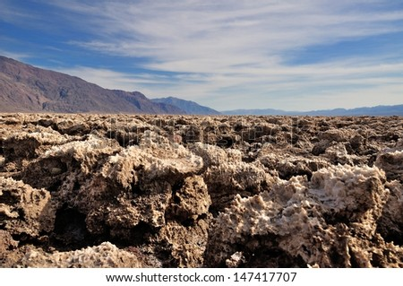 Devil's Golf Course in Death Valley National Park - stock photo