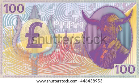Devil's Money Pound Sterling-Matte art-Colors. - stock photo