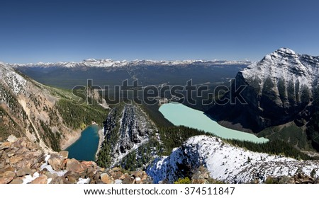 Devil's Thumb Hike, Scramble Lake Agnes (left), Lake Louise (center), Mount Fairview (right), Lake Louise, Banff National Park, Alberta, Canada Lake Louise Ski Resort Picture taken on August 22, 2015 - stock photo