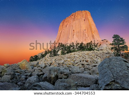 Devil's Tower National Monument in Wyoming, U.S.A.  - stock photo