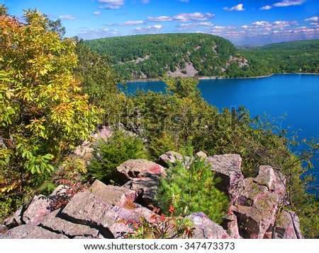 Devils Lake State Park is a popular tourist attraction in Wisconsin - stock photo