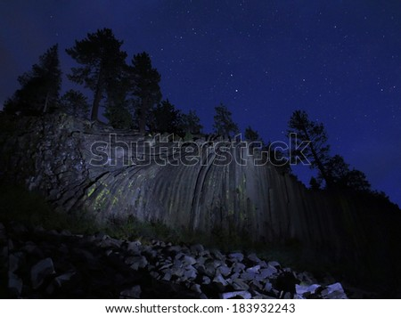 Devils Postpile National Monument Volcanic Rock Formation Astrophotography - stock photo