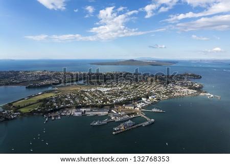 Devonport, Auckland, New Zealand/ aerial view over Devonport looking towards Rangitoto island - stock photo