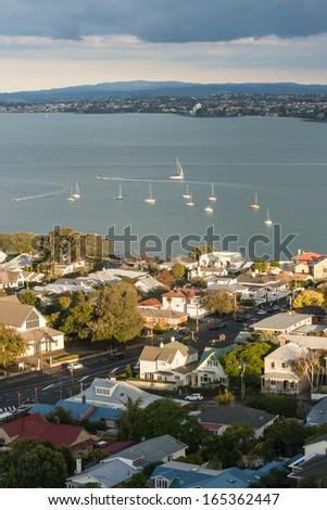 Devonport with Hauraki Gulf, New Zealand - stock photo
