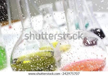 dew on glass of  laboratory room, Chemical, Science, Laboratory,  - stock photo