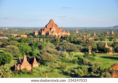Dhammayan Gyi Temple and other temples in Bagan, Myanmar  - stock photo